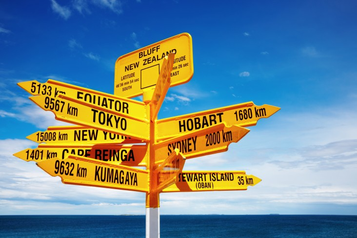 a signpost in Bluff showing directions of places around the world